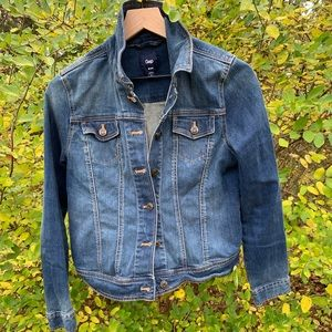 Gap Blue Denim Jacket Dark Wash w/Fading